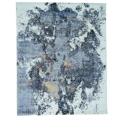 Abstract Broken Oriental Hand-Knotted Silk Blue Area Rug