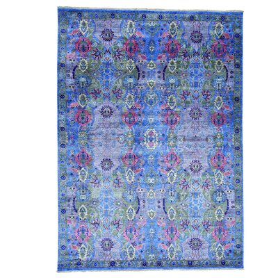 Crafts Oriental Hand-Knotted Silk Blue Area Rug