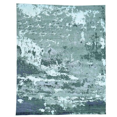 Abstract Hi and Low Hand-Knotted Silk Green Area Rug