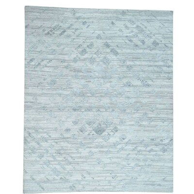 Undyed Natural Oriental Hand-Knotted Gray Area Rug