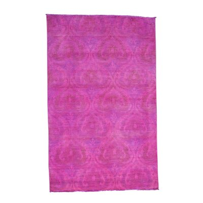 Cast Ikat Overdyed He Hand-Knotted Pink Area Rug