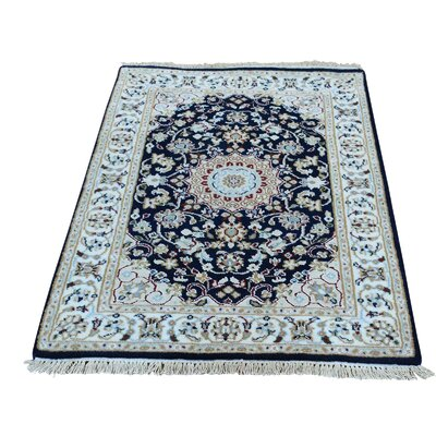300 KPSI Nain Sample Hand-Knotted Silk Blue Area Rug