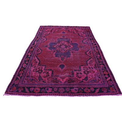 One-of-a-Kind Gracey Vintage Overdyed Hamadan Oriental Hand-Knotted Silk Area Rug