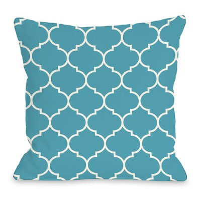 East Village Repeating Moroccan Outdoor Throw Pillow Color: Blue, Size: 18 x 18