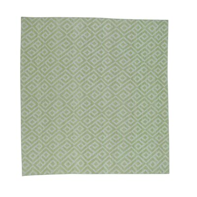 Flat Weave Reversible Kilim Hand-Knotted Green Area Rug