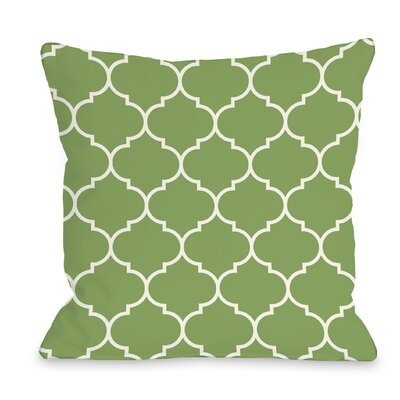 East Village Repeating Moroccan Outdoor Throw Pillow Color: Olive, Size: 16 x 16