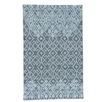 Geometric Oriental Hand-Knotted Gray Area Rug