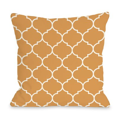 East Village Repeating Moroccan Outdoor Throw Pillow Color: Orange, Size: 16 x 16