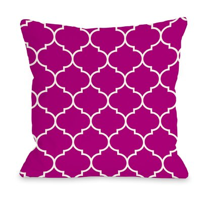 East Village Repeating Moroccan Outdoor Throw Pillow Color: Pink, Size: 16 x 16