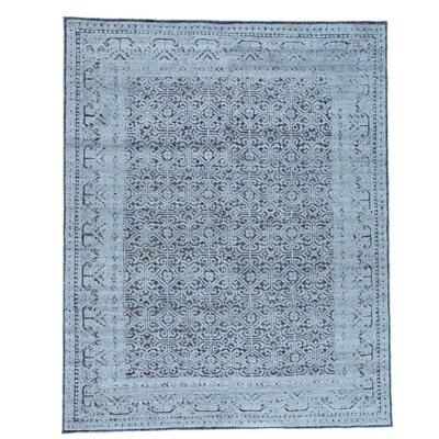 Hi and Low Oidized Khotan Oriental Hand-Knotted Blue Area Rug