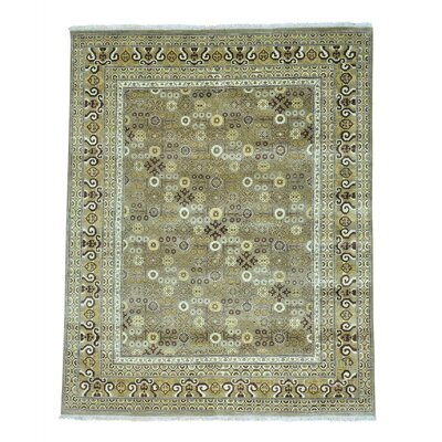 Khotan Oriental Hand-Knotted Wool Gray Area Rug