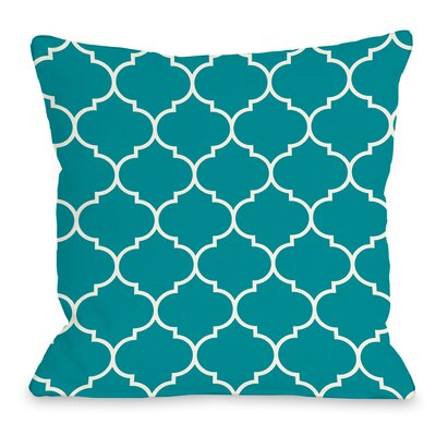 East Village Repeating Moroccan Outdoor Throw Pillow Color: Aqua Blue, Size: 16 x 16