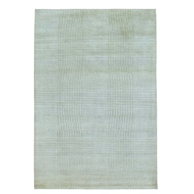 Nepali Tone on Tone Oriental Hand-Knotted Silk Beige Area Rug
