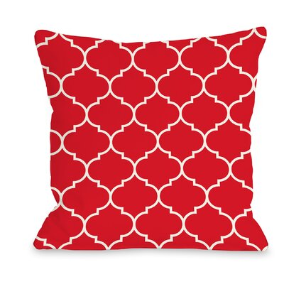East Village Repeating Moroccan Outdoor Throw Pillow Color: Red, Size: 18 x 18