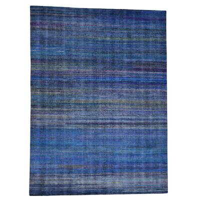 Grass and Oidized Oriental Hand-Knotted Silk Dark Blue/Light Blue Area Rug