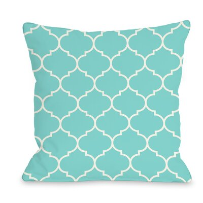 East Village Repeating Moroccan Outdoor Throw Pillow Color: Teal Blue, Size: 18 x 18