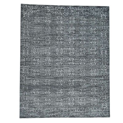 Charcoal Hi and Low Oidized Hand-Knotted Blue/Gray Area Rug