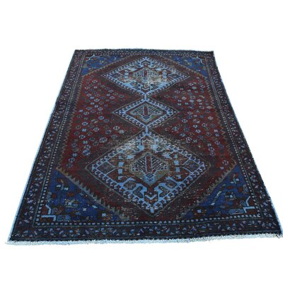 One-of-a-Kind Kenilworth Vintage Overdyed Shiraz Oriental Hand-Knotted Area Rug