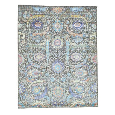 Sickle Leaf Oidized and Hand-Knotted Silk Brown Area Rug