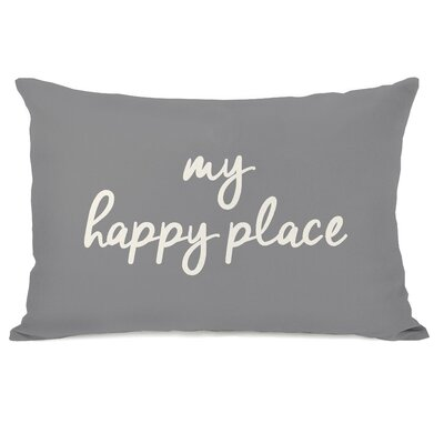 Dupras My Happy Place Outdoor Lumbar Pillow Color: Gray
