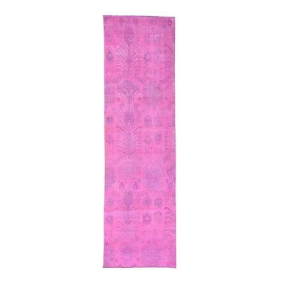 Cast Overdyed Ikat Hand-Knotted Pink Area Rug