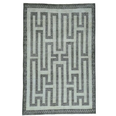 Maze Berber Influence Hand-Knotted Ivory Area Rug