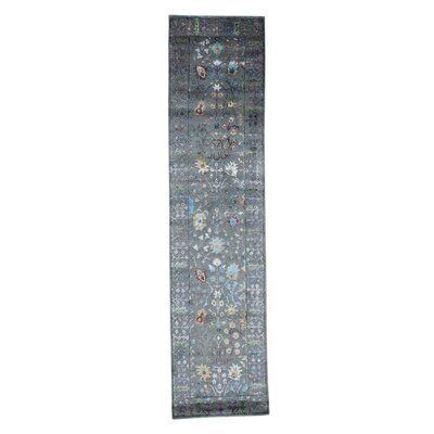 Crafts Hand-Knotted Silk Gray Area Rug