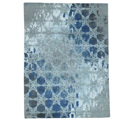 Award Winning Honeycomb Hand-Knotted Silk Gray Area Rug