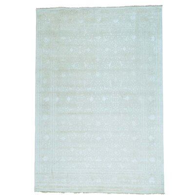 Tone on Tone 300 KPSI Oriental Hand-Knotted Silk Gray Area Rug