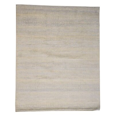 Grass Oriental Hand-Knotted Silk Ivory Area Rug