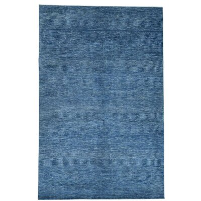Grass Oriental Hand-Knotted Silk Blue Area Rug