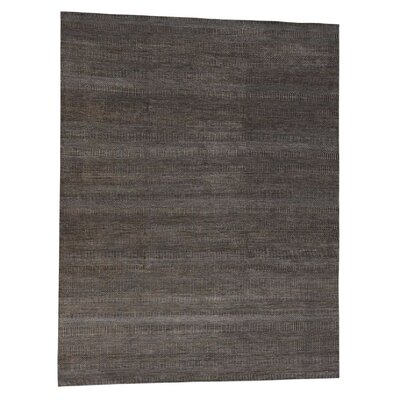 Grass Oriental Hand-Knotted Silk Brown Area Rug