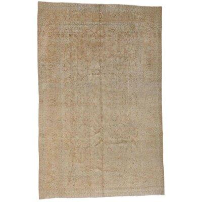 Vintage Worn Oriental Hand-Knotted Wool Beige Area Rug
