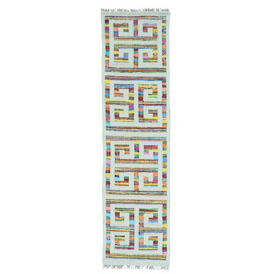 Flat Weave Kilim Geometric Oriental Hand-Knotted Cotton Off White/Pink Area Rug