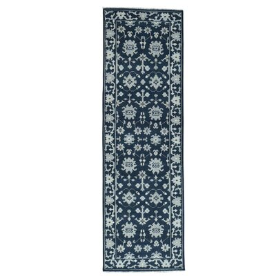 One-of-a-Kind Pavot Knot Oushak Cropped Oriental Hand-Knotted Area Rug