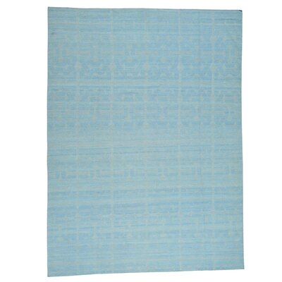 Flat Weave Durie Kilim Reversible Hand-Knotted Blue Area Rug