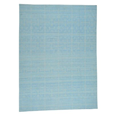 Reversible Flat Weave Kilim Hand-Knotted Blue Area Rug