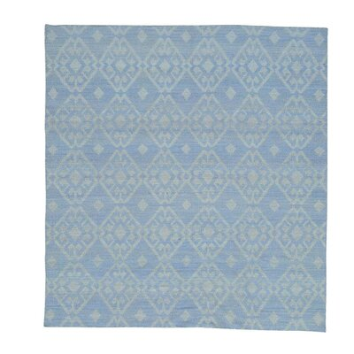 Flat Weave Reversible Durie Kilim Squarish Hand-Knotted Blue Area Rug