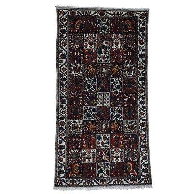 Bakhtiari Garden Hand-Knotted Maroon/Black Area Rug