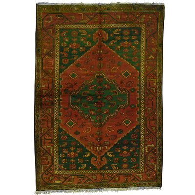 One-of-a-Kind Lear Overdyed Hamadan Vintage Oriental Hand-Knotted Area Rug
