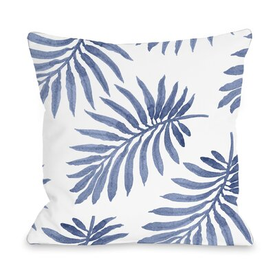 Morganton Palm Throw Pillow Size: 16 x 16, Color: Navy Blue