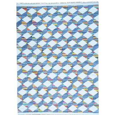 Flat Weave Kilim Oriental Hand-Knotted Silk White/Blue Area Rug