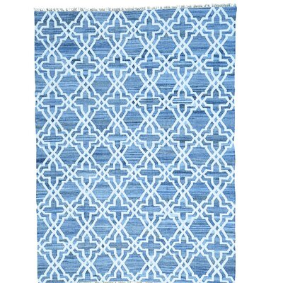 Flat Weave Kilim Oriental Hand-Knotted Silk Blue Area Rug