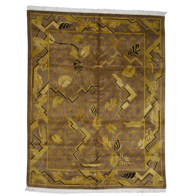 Tibetan Oriental Hand-Knotted Wool Yellow Area Rug