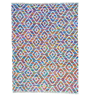 Kilim Oriental Hand-Knotted Silk White/Pink Area Rug