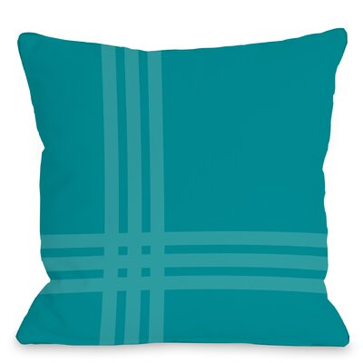 Plaid Throw Pillow Size: 18 x 18, Color: Aqua Blue