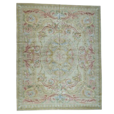 Plush Savonnerie Louis Phillippe Hand-Knotted Beige Area Rug