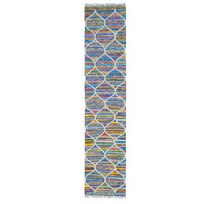 Kilim Oriental Hand-Knotted Silk White/Purple Area Rug
