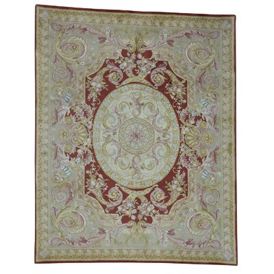 Plush Savonnerie Napoleon III Hand-Knotted Red Area Rug