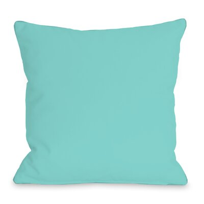 Solid Outdoor Throw Pillow Color: Teal Blue, Size: 18 x 18